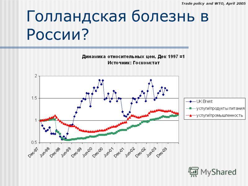 Trade policy and WTO, April 2005 Голландская болезнь в России?