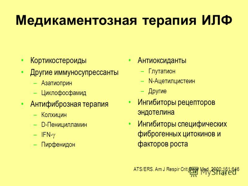 15 ATS/ERS. Am J Respir Crit Care Med. 2000;161:646 Медикаментозная терапия ИЛФ Кортикостероиды Другие иммуносупрессанты –Азатиоприн –Циклофосфамид Антифиброзная терапия –Колхицин –D-Пеницилламин –IFN- –Пирфенидон Антиоксиданты –Глутатион –N-Ацетилци