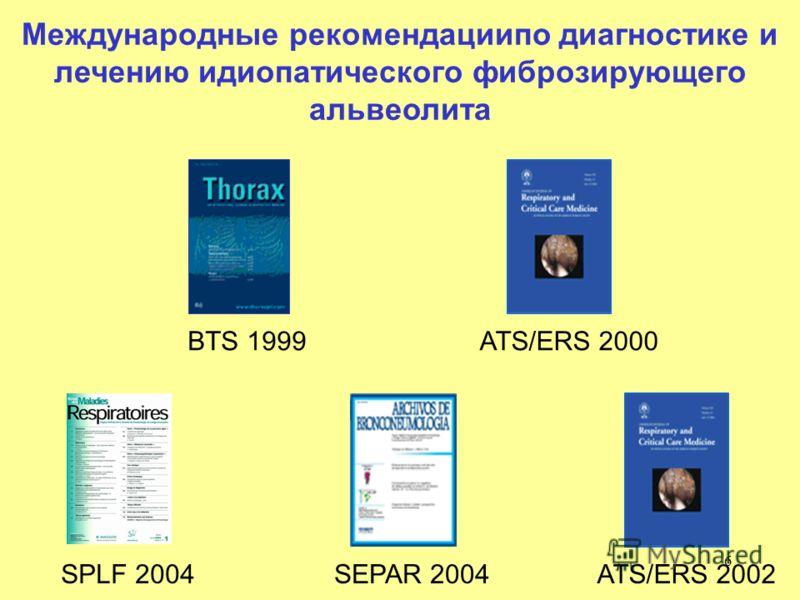 6 BTS 1999 SPLF 2004 ATS/ERS 2000 ATS/ERS 2002SEPAR 2004 Международные рекомендациипо диагностике и лечению идиопатического фиброзирующего альвеолита