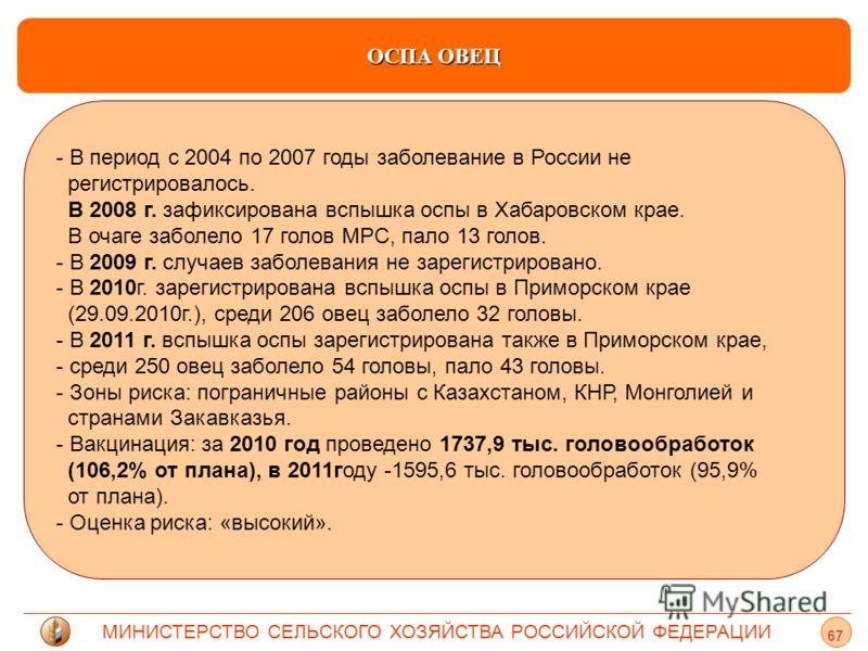 МИНИСТЕРСТВО СЕЛЬСКОГО ХОЗЯЙСТВА РОССИЙСКОЙ ФЕДЕРАЦИИ ОСПА ОВЕЦ - - В период с 2004 по 2007 годы заболевание в России не регистрировалось. В 2008 г. зафиксирована вспышка оспы в Хабаровском крае. В очаге заболело 17 голов МРС, пало 13 голов. - В 2009