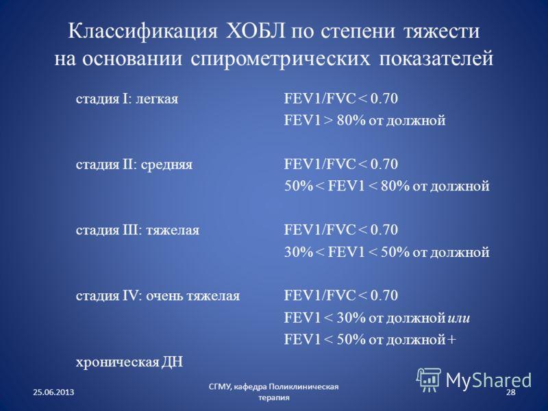 стадия I: легкая стадия II: средняя стадия III: тяжелая стадия IV: очень тяжелая хроническая ДН FEV1/FVC < 0.70 FEV1 > 80% от должной FEV1/FVC < 0.70 50% < FEV1 < 80% от должной FEV1/FVC < 0.70 30% < FEV1 < 50% от должной FEV1/FVC < 0.70 FEV1 < 30% о