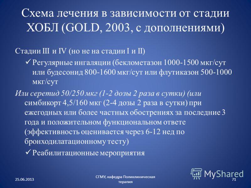 Схема лечения в зависимости от стадии ХОБЛ (GOLD, 2003, с дополнениями) Стадии III и IV (но не на стадии I и II) Регулярные ингаляции (беклометазон 1000-1500 мкг/сут или будесонид 800-1600 мкг/сут или флутиказон 500-1000 мкг/сут Или серетид 50/250 мк