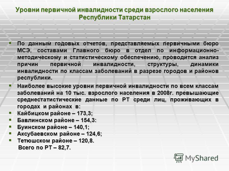 Уровни первичной инвалидности среди взрослого населения Республики Татарстан По данным годовых отчетов, представляемых первичными бюро МСЭ, составами Главного бюро в отдел по информационно- методическому и статистическому обеспечению, проводится анал