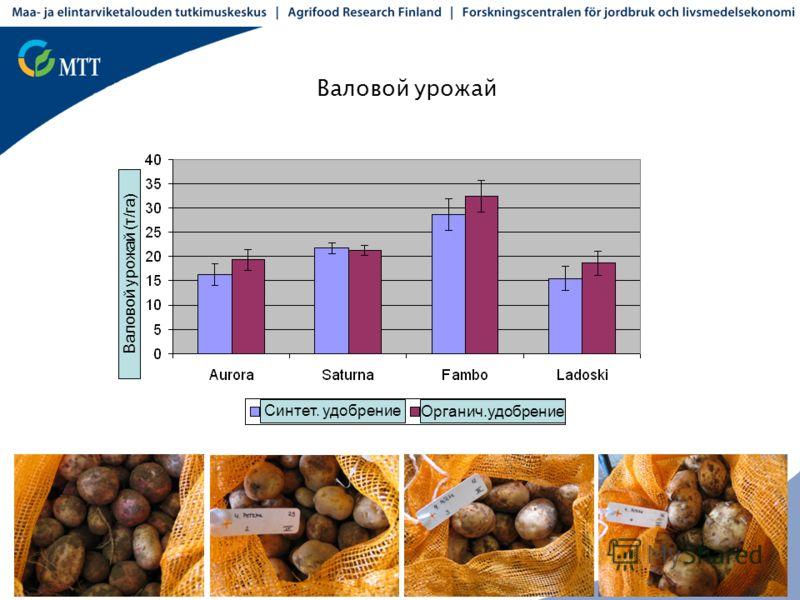 Валовой урожай Валовой урожай (т/га) Синтет. удобрение Органич.удобрение