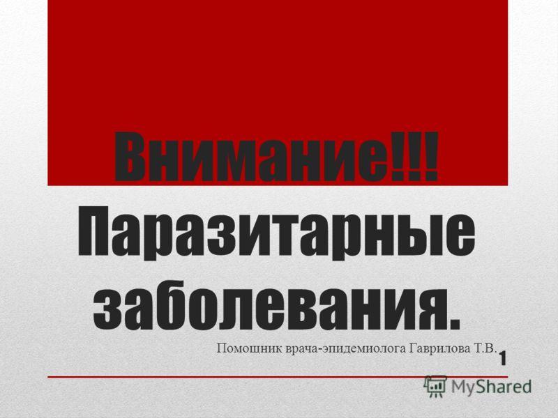 Внимание!!! Паразитарные заболевания. Помощник врача-эпидемиолога Гаврилова Т.В. 1