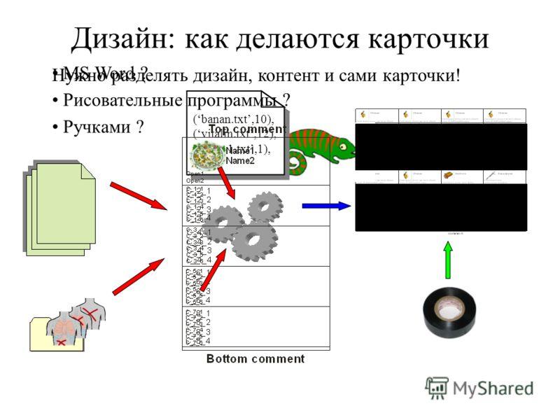 Дизайн: как делаются карточки (banan.txt,10), (vitalin.txt,12), (quest1.txt,1),... (banan.txt,10), (vitalin.txt,12), (quest1.txt,1),... MS Word ? Рисовательные программы ? Ручками ? Нужно разделять дизайн, контент и сами карточки!