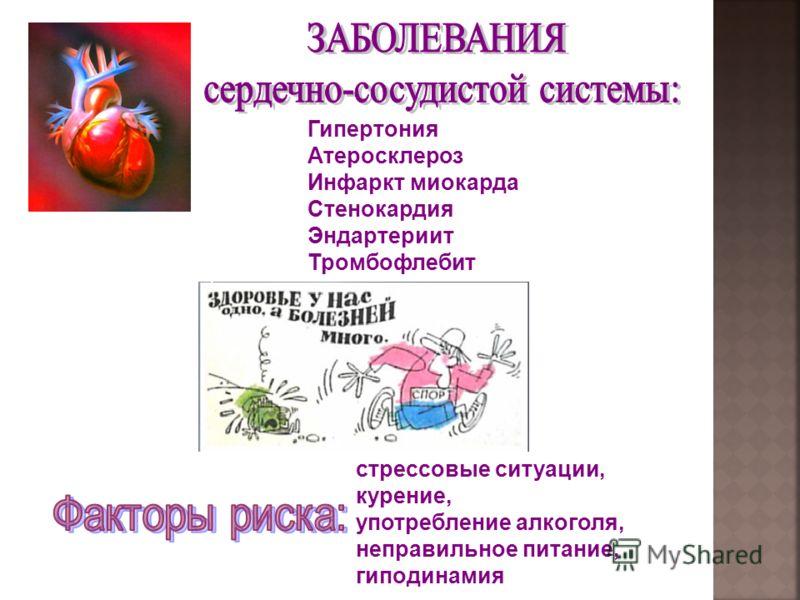 Гипертония Атеросклероз Инфаркт миокарда Стенокардия Эндартериит Тромбофлебит стрессовые ситуации, курение, употребление алкоголя, неправильное питание, гиподинамия