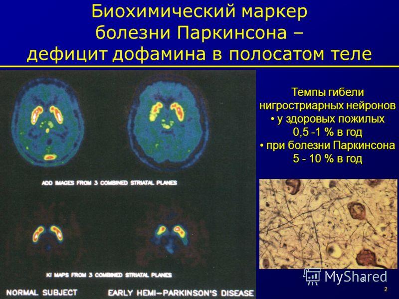 3 Биохимический маркер болезни Паркинсона – дефицит дофамина в полосатом теле Темпы гибели нигростриарных нейронов у здоровых пожилых у здоровых пожилых 0,5 -1 % в год при болезни Паркинсона 5 - 10 % в год при болезни Паркинсона 5 - 10 % в год 2