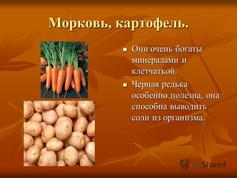 Морковь, картофель. Они очень богаты минералами и клетчаткой. Они очень богаты минералами и клетчаткой. Черная редька особенно полезна, она способна выводить соли из организма. Черная редька особенно полезна, она способна выводить соли из организма.
