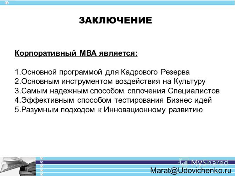 Marat@Udovichenko.ru ЗАКЛЮЧЕНИЕ Корпоративный МВА является: 1.Основной программой для Кадрового Резерва 2.Основным инструментом воздействия на Культуру 3.Самым надежным способом сплочения Специалистов 4.Эффективным способом тестирования Бизнес идей 5