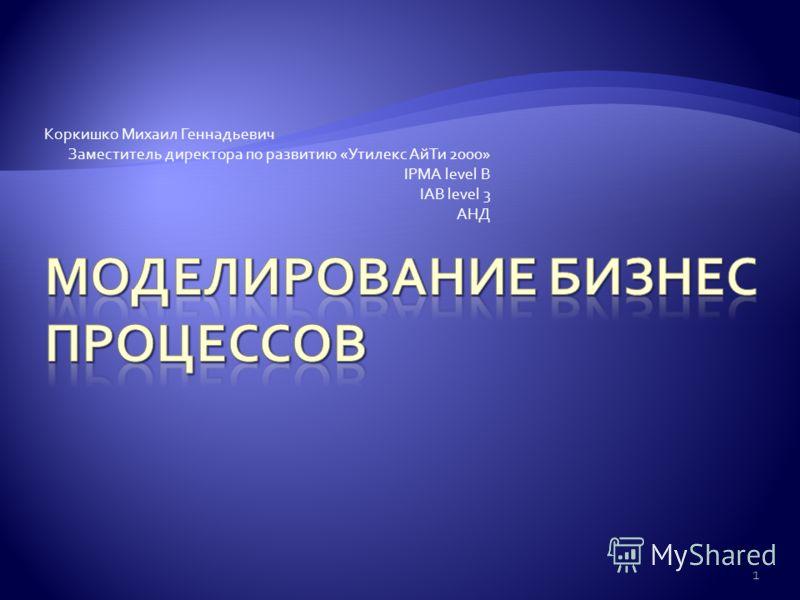 Коркишко Михаил Геннадьевич Заместитель директора по развитию «Утилекс АйТи 2000» IPMA level B IAB level 3 АНД 1