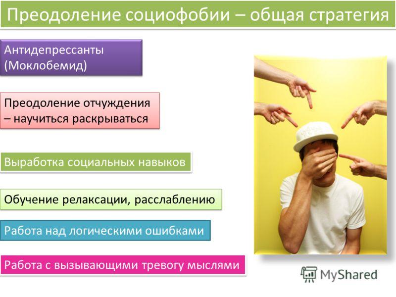 Преодоление социофобии – общая стратегия Антидепрессанты (Моклобемид) Антидепрессанты (Моклобемид) Работа с вызывающими тревогу мыслями Выработка социальных навыков Преодоление отчуждения – научиться раскрываться Преодоление отчуждения – научиться ра