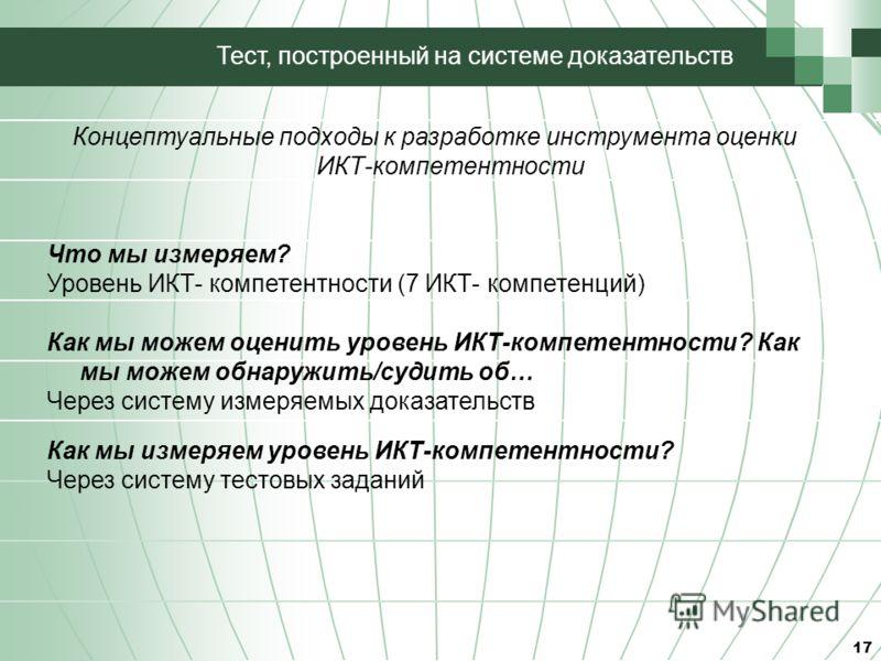 17 Тест, построенный на системе доказательств Концептуальные подходы к разработке инструмента оценки ИКТ-компетентности Что мы измеряем? Уровень ИКТ- компетентности (7 ИКТ- компетенций) Как мы можем оценить уровень ИКТ-компетентности? Как мы можем об