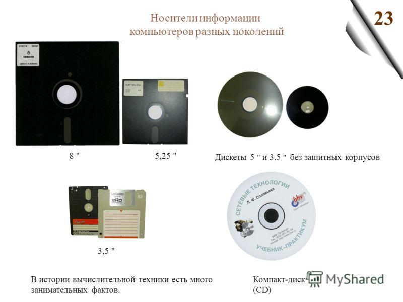 23 Носители информации компьютеров разных поколений Дискеты 5  и 3,5  без защитных корпусов Компакт-диск (CD) В истории вычислительной техники есть много занимательных фактов. 8  3,5  5,25