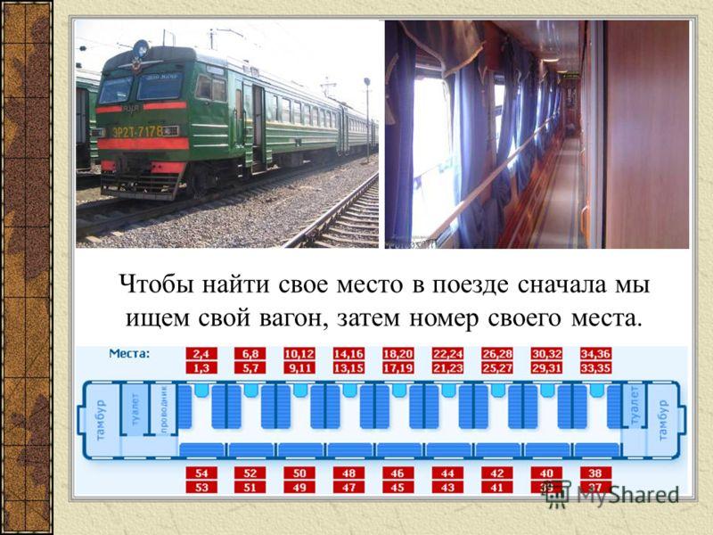 Чтобы найти свое место в поезде сначала мы ищем свой вагон, затем номер своего места.