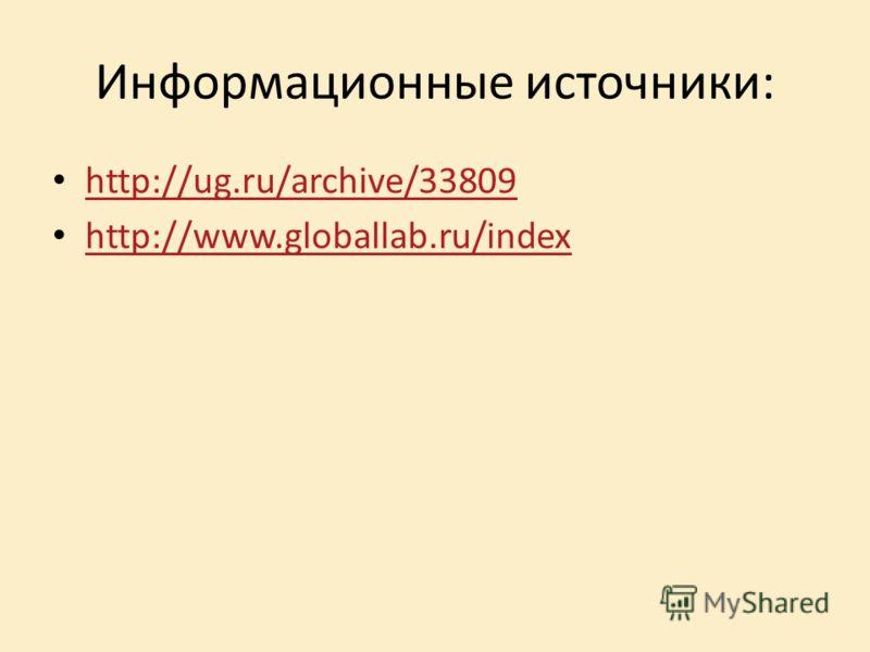 Информационные источники: http://ug.ru/archive/33809 http://www.globallab.ru/index
