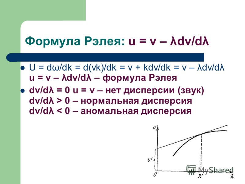 Формула Рэлея: u = v – λdv/dλ U = dω/dk = d(vk)/dk = v + kdv/dk = v – λdv/dλ u = v – λdv/dλ – формула Рэлея dv/dλ = 0 u = v – нет дисперсии (звук) dv/dλ > 0 – нормальная дисперсия dv/dλ < 0 – аномальная дисперсия