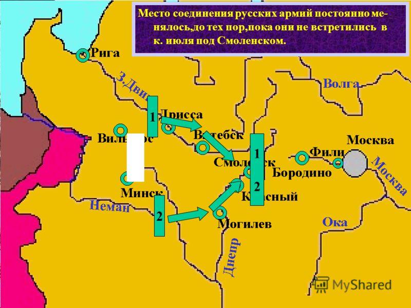 Место соединения русских армий постоянно ме- нялось,до тех пор,пока они не встретились в к. июля под Смоленском. 1 2 1212