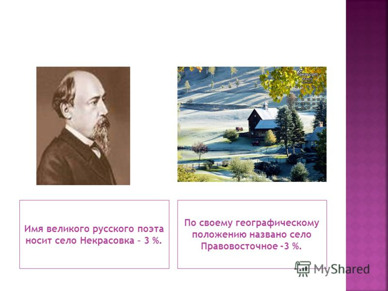 Имя великого русского поэта носит село Некрасовка – 3 %. По своему географическому положению названо село Правовосточное -3 %.