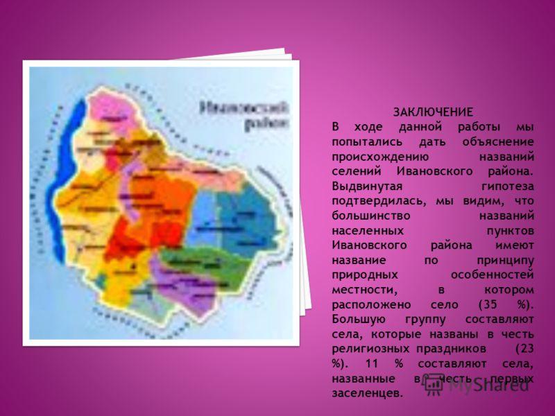 ЗАКЛЮЧЕНИЕ В ходе данной работы мы попытались дать объяснение происхождению названий селений Ивановского района. Выдвинутая гипотеза подтвердилась, мы видим, что большинство названий населенных пунктов Ивановского района имеют название по принципу пр
