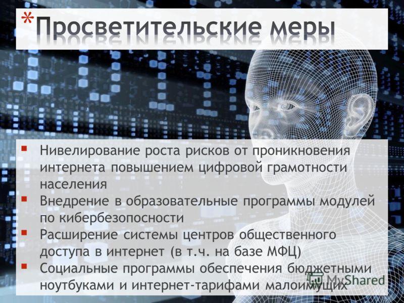 Нивелирование роста рисков от проникновения интернета повышением цифровой грамотности населения Внедрение в образовательные программы модулей по кибербезопосности Расширение системы центров общественного доступа в интернет (в т.ч. на базе МФЦ) Социал