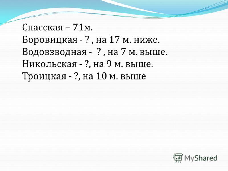 Спасская – 71 м. Боровицкая - ?, на 17 м. ниже. Водовзводная - ?, на 7 м. выше. Никольская - ?, на 9 м. выше. Троицкая - ?, на 10 м. выше