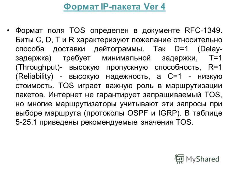 Формат IP-пакета Ver 4 Формат поля TOS определен в документе RFC-1349. Биты C, D, T и R характеризуют пожелание относительно способа доставки дейтограммы. Так D=1 (Delay- задержка) требует минимальной задержки, T=1 (Throughput)- высокую пропускную сп