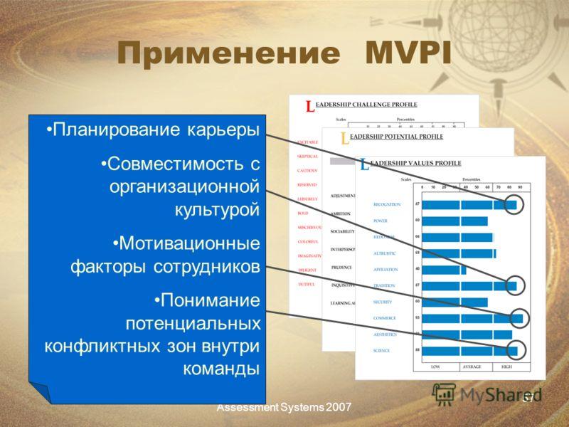 Assessment Systems 2007 57 Применение MVPI Планирование карьеры Совместимость с организационной культурой Мотивационные факторы сотрудников Понимание потенциальных конфликтных зон внутри команды