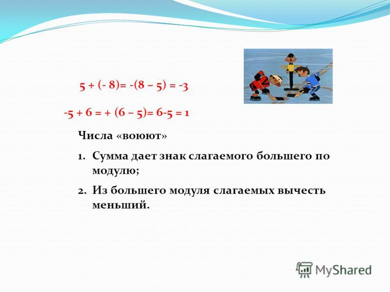 Числа «воюют» 1.Сумма дает знак слагаемого большего по модулю; 2.Из большего модуля слагаемых вычесть меньший. 5 + (- 8)= -(8 – 5) = -3 -5 + 6 = + (6 – 5)= 6-5 = 1