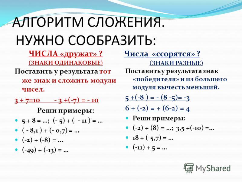 АЛГОРИТМ СЛОЖЕНИЯ. НУЖНО СООБРАЗИТЬ: ЧИСЛА «дружат» ? (ЗНАКИ ОДИНАКОВЫЕ) Числа «ссорятся» ? (ЗНАКИ РАЗНЫЕ) Поставить у результата тот же знак и сложить модули чисел. 3 + 7=10 - 3 +(-7) = - 10 Реши примеры: 5 + 8 = …; (- 5) + ( - 11 ) = … ( - 8,1 ) +