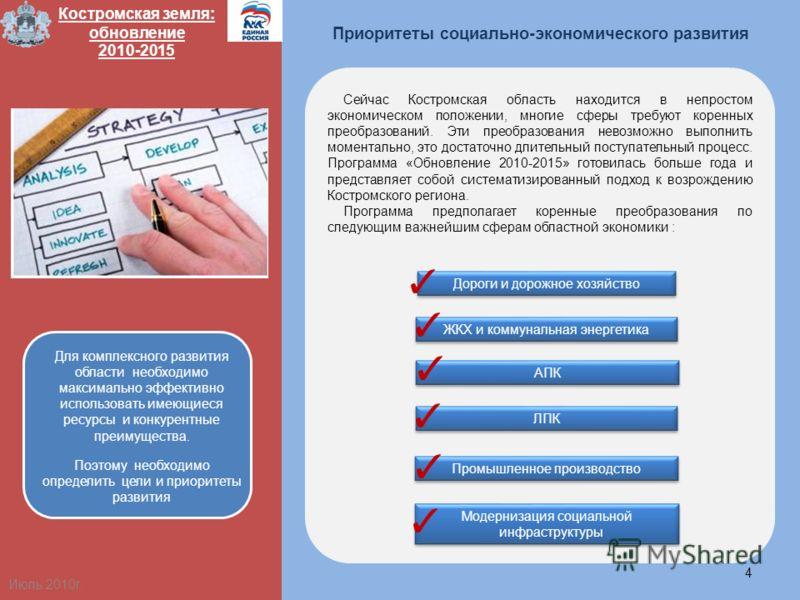 Приоритеты социально-экономического развития 4 Костромская земля: обновление 2010-2015 Сейчас Костромская область находится в непростом экономическом положении, многие сферы требуют коренных преобразований. Эти преобразования невозможно выполнить мом