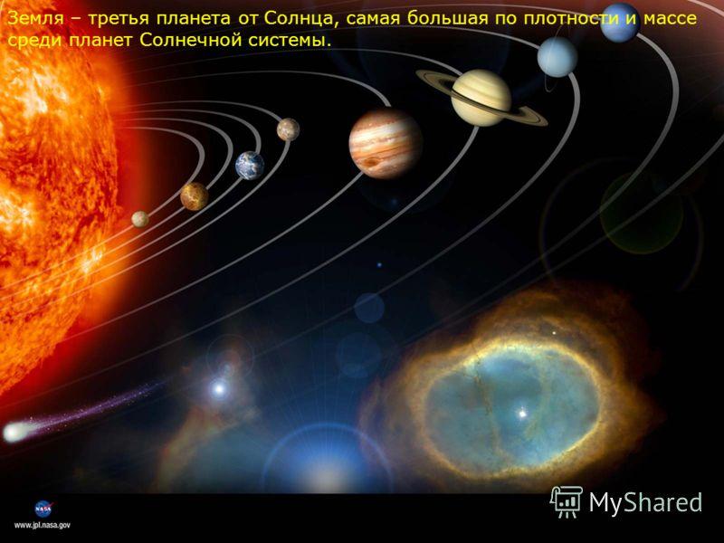 Земля – третья планета от Солнца, самая большая по плотности и массе среди планет Солнечной системы.