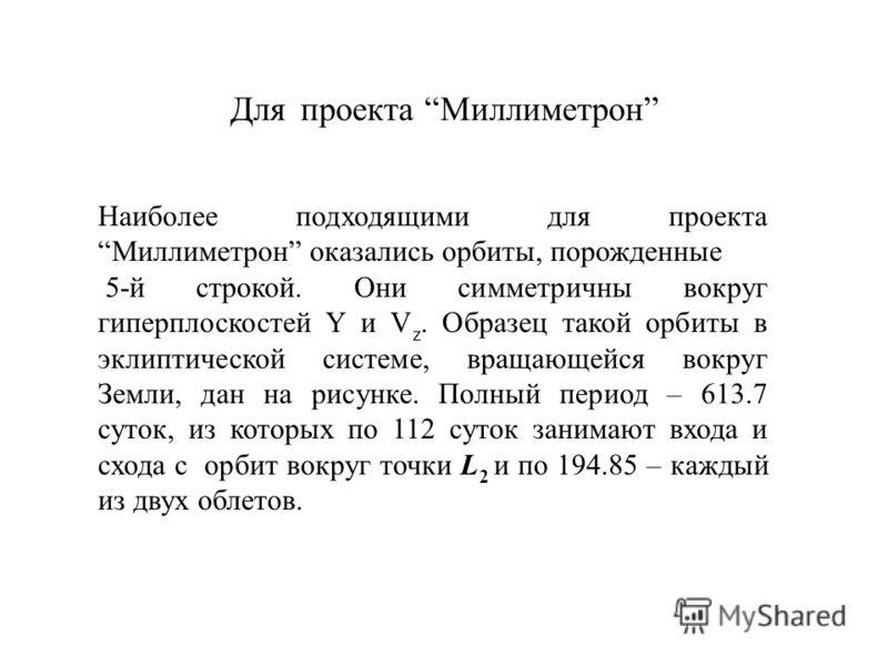 Для проекта Миллиметрон Наиболее подходящими для проекта Миллиметрон оказались орбиты, порожденные 5-й строкой. Они симметричны вокруг гиперплоскостей Y и V z. Образец такой орбиты в эклиптической системе, вращающейся вокруг Земли, дан на рисунке. По