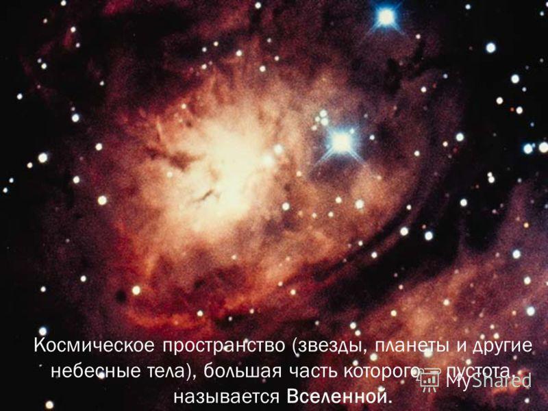 Космическое пространство (звезды, планеты и другие небесные тела), большая часть которого – пустота, называется Вселенной.