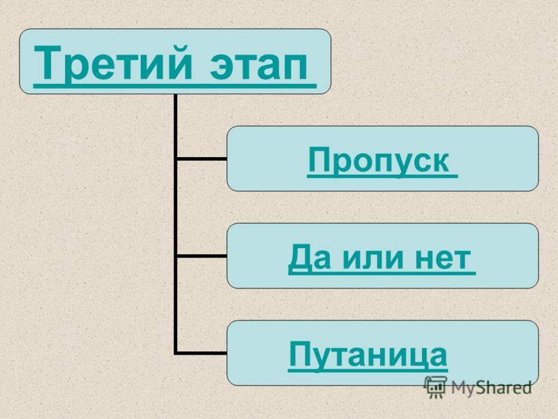 Третий этап Пропуск Да или нет Путаница