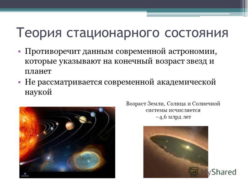 Теория стационарного состояния Противоречит данным современной астрономии, которые указывают на конечный возраст звезд и планет Не рассматривается современной академической наукой Возраст Земли, Солнца и Солнечной системы исчисляется ~4,6 млрд лет