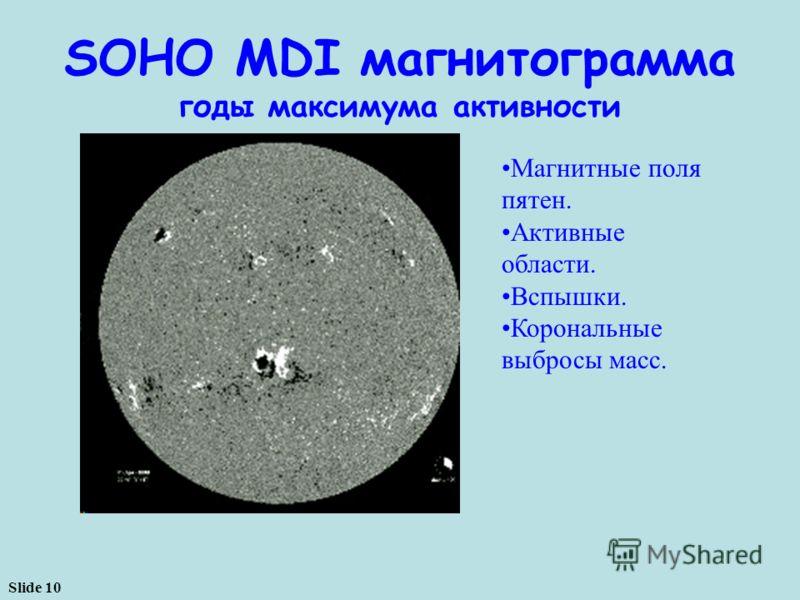 Slide 10 Магнитные поля пятен. Активные области. Вспышки. Корональные выбросы масс. SOHO MDI магнитограмма годы максимума активности