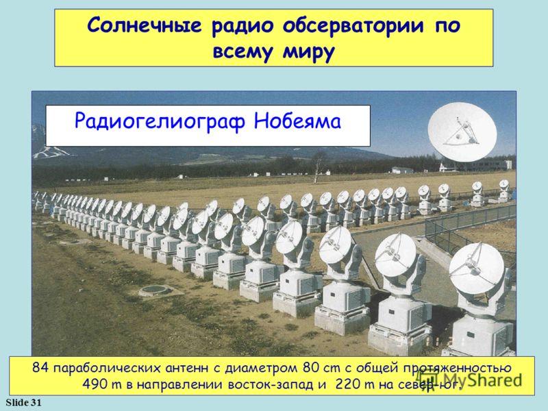 Slide 31 84 параболических антенн с диаметром 80 cm с общей протяженностью 490 m в направлении восток-запад и 220 m на север-юг. Солнечные радио обсерватории по всему миру Радиогелиограф Нобеяма