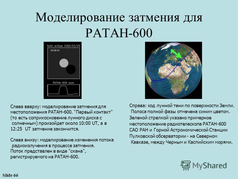 Slide 66 Справа: ход лунной тени по поверхности Земли. Полоса полной фазы отмечена синим цветом. Зеленой стрелкой указано примерное местоположение радиотелескопа РАТАН-600 САО РАН и Горной Астрономической Станции Пулковской обсерватории - на Северном