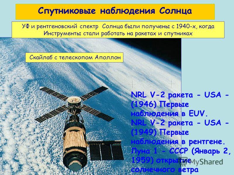 Slide 68 УФ и рентгеновский спектр Солнца были получены с 1940-х, когда Инструменты стали работать на ракетах и спутниках Скайлаб с телескопом Аполлон NRL V-2 ракета - USA - (1946) Первые наблюдения в ЕUV. NRL V-2 ракета - USA - (1949) Первые наблюде