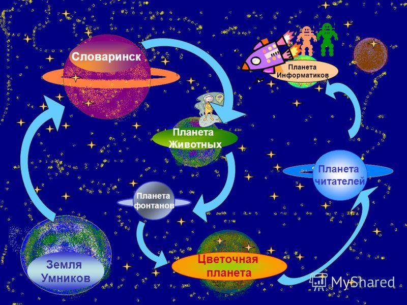 Планета читателей Планета Животных Словаринск Земля Умников Планета Информатиков Цветочная планета Планета фонтанов
