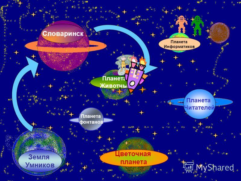 Словаринск Земля Умников Планета Животных Планета Читателей Планета Информатиков Цветочная планета Планета фонтанов