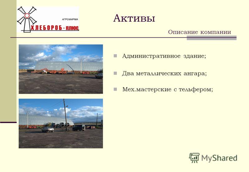 Административное здание; Два металлических ангара; Мех.мастерские с тельфером; Описание компании Активы
