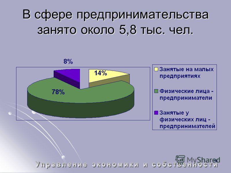 18 В сфере предпринимательства занято около 5,8 тыс. чел.