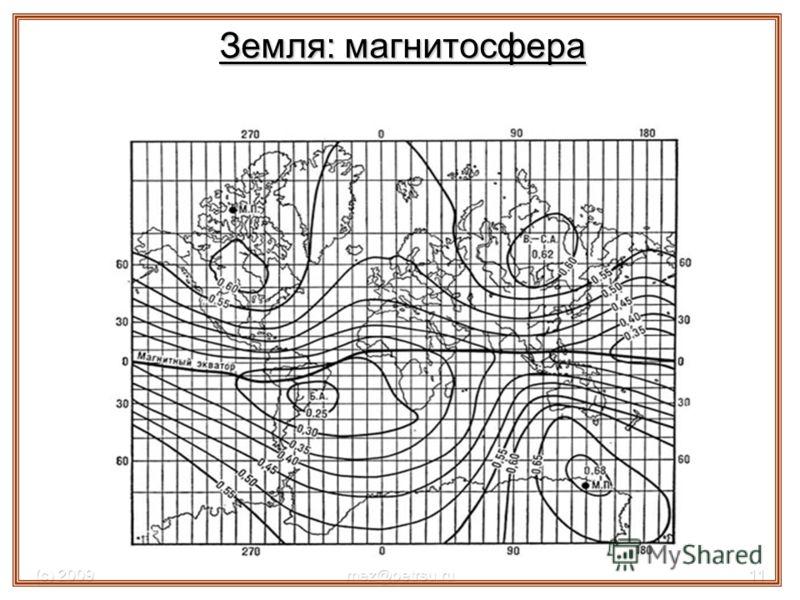 (с) 2009mez@petrsu.ru11 Магнитное поле Земли, магнитные аномалии Земля: магнитосфера