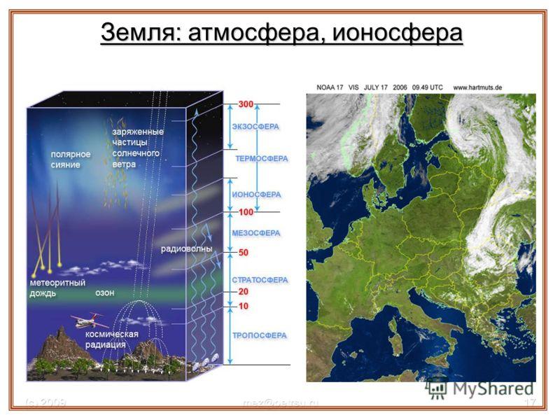 (с) 2009mez@petrsu.ru17 Земля: атмосфера, ионосфера