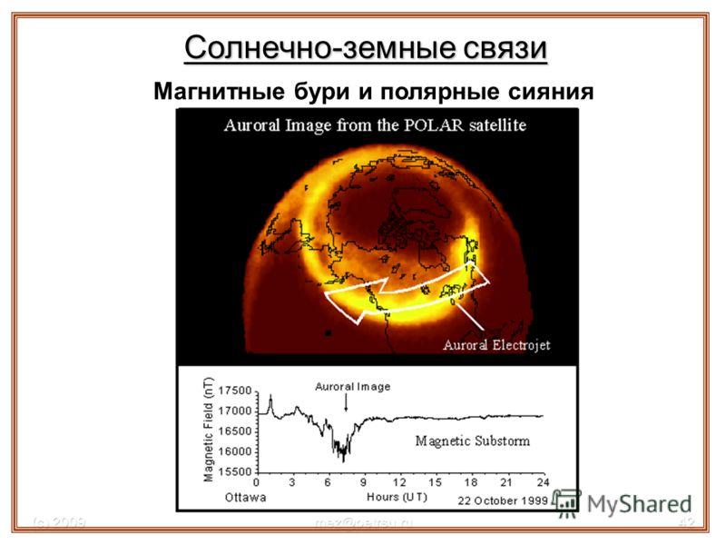 (с) 2009mez@petrsu.ru42 Магнитные бури и полярные сияния Солнечно-земные связи
