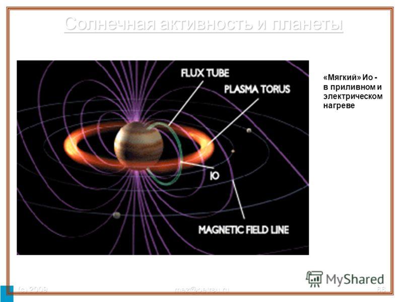 (с) 2009mez@petrsu.ru66 «Мягкий» Ио - в приливном и электрическом нагреве Солнечная активность и планеты