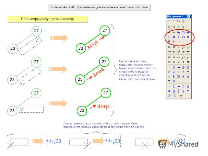 Объекты AutoCAD, применяемые для выполнения электрической схемы Параметры (результаты расчета) 23 27 34+j4 23 27 34+j4 При вставке в схему параметр-переток может быть расположен с текстом слева либо справа от стрелки, а также вдоль ветви либо горизон