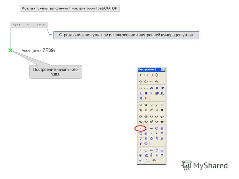 0201 0 7F39 Узел (метка 7F39 ) Фрагмент схемы, выполненный конструктором ГрафСКАНЭР Строка описания узла при использовании внутренней нумерации узлов Построение начального узла